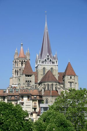 Lausanne's Cathedral as seen from place d'Ours (Bear Plaza)